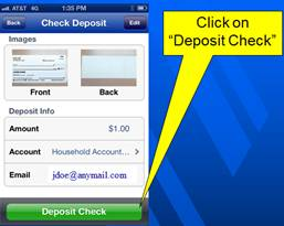 mobile check deposit step six